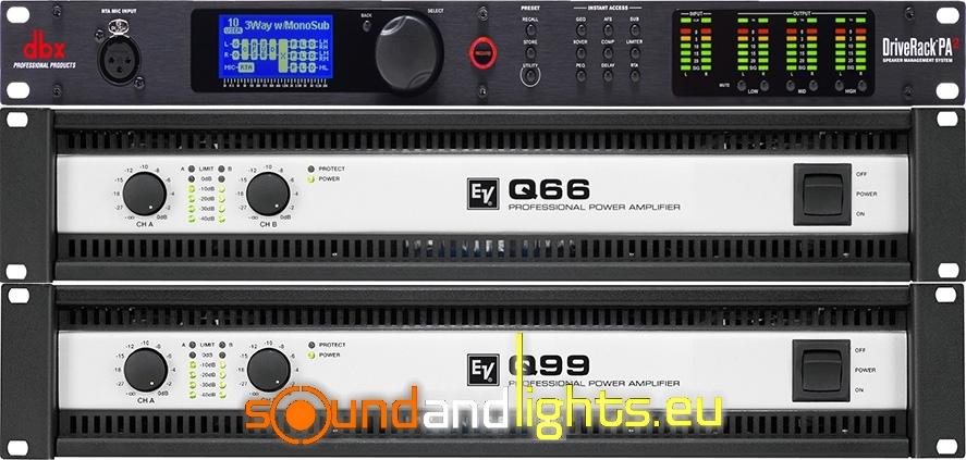 Rack ElectroVoice Q66 II + Q99 II + DBX Driverack PA2